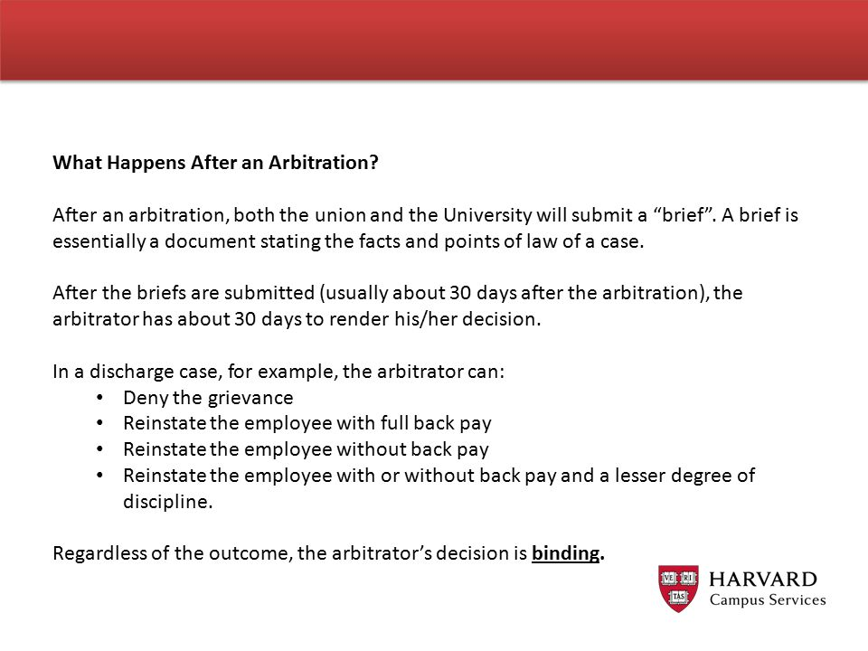 What Happens After an Arbitration