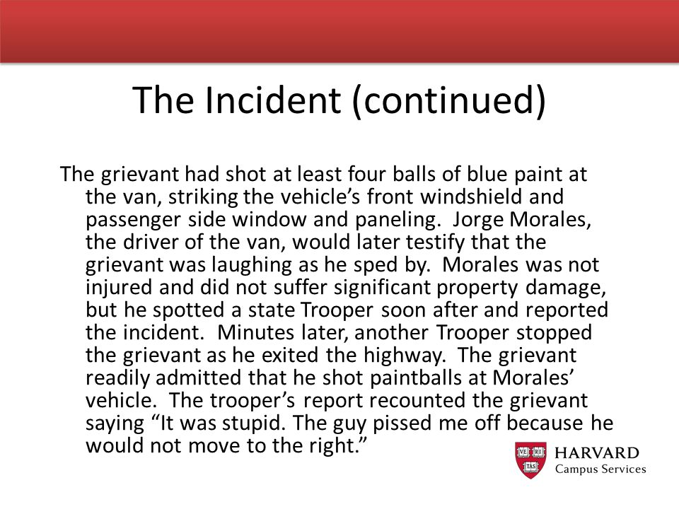 The Incident (continued)