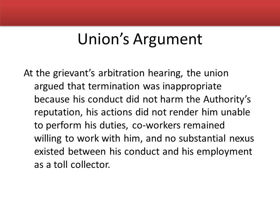Union's Argument