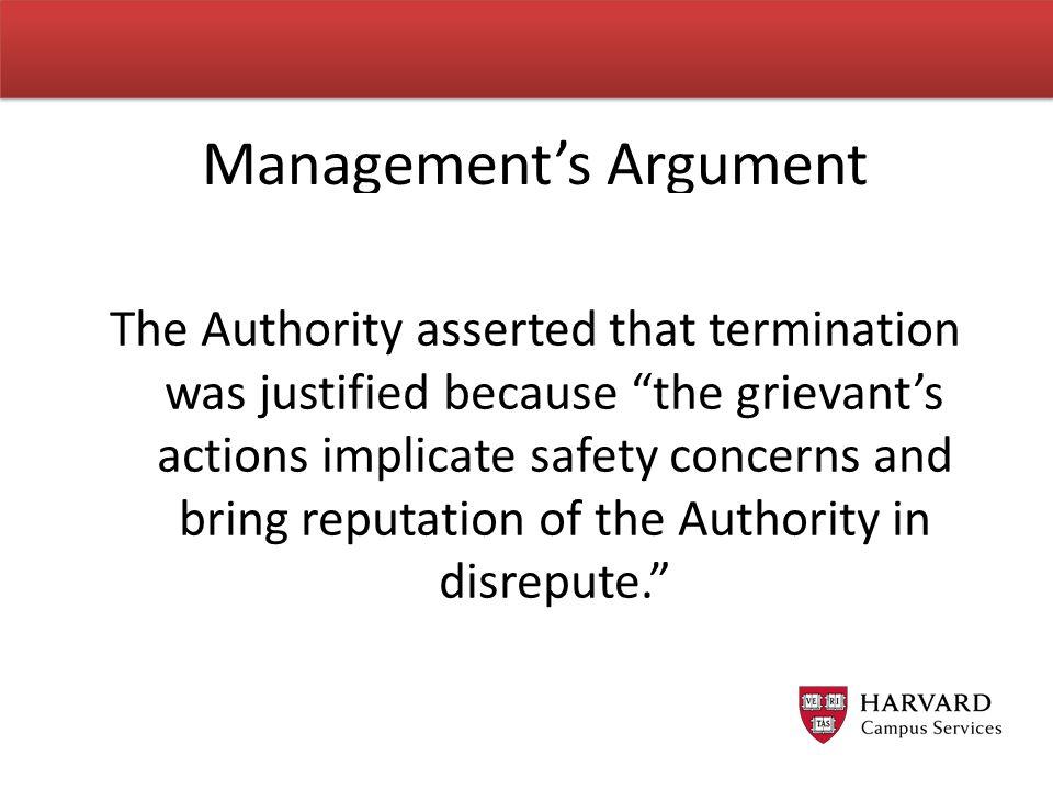Management's Argument
