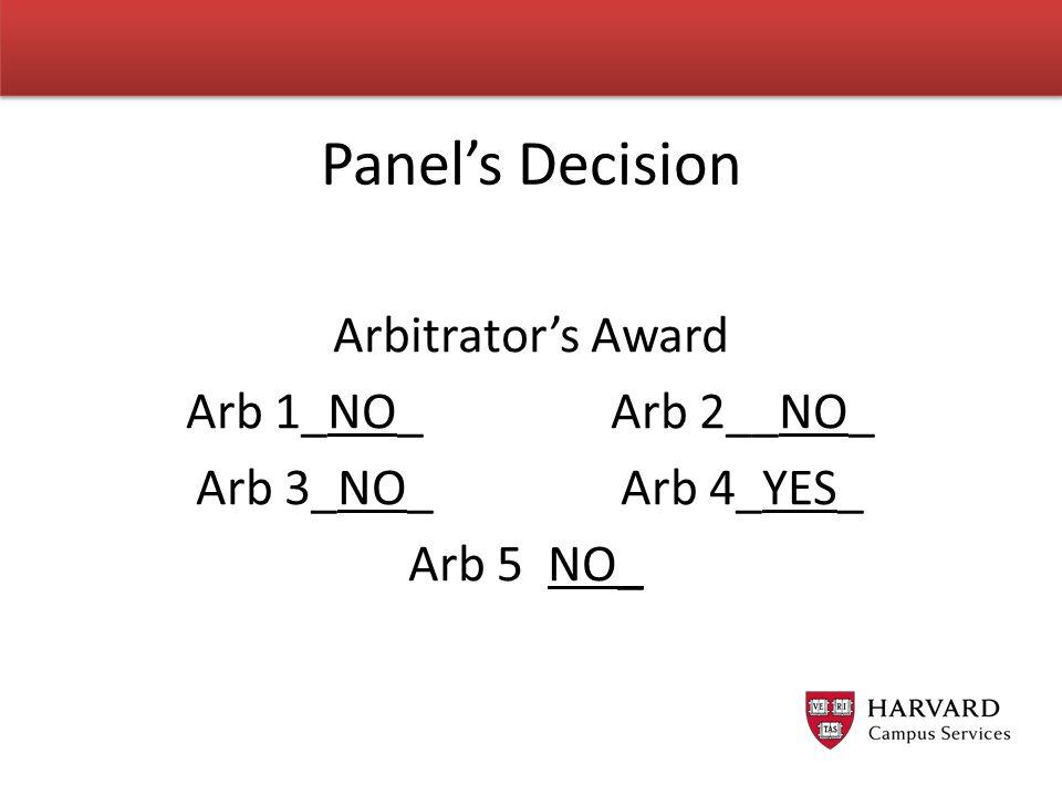 Arbitrator's Award Arb 1_NO_ Arb 2__NO_ Arb 3_NO_ Arb 4_YES_ Arb 5 NO_