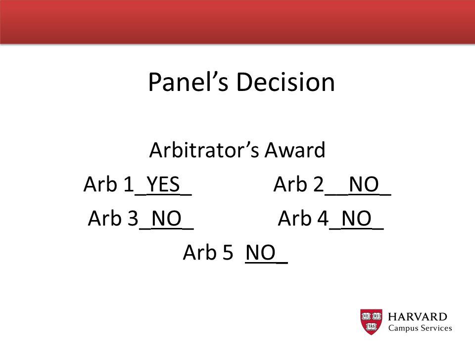 Arbitrator's Award Arb 1_YES_ Arb 2__NO_ Arb 3_NO_ Arb 4_NO_ Arb 5 NO_