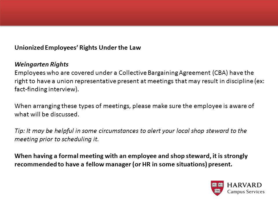 Unionized Employees' Rights Under the Law Weingarten Rights