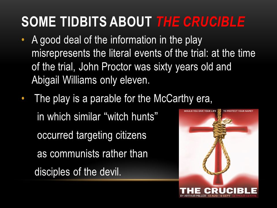 arthur millers the crucible political parable Arthur miller, the crucible- explain how tension is created in arthur millers 'the crucible' in the crucible there is a lot of tension that builds gradually throughout the play.