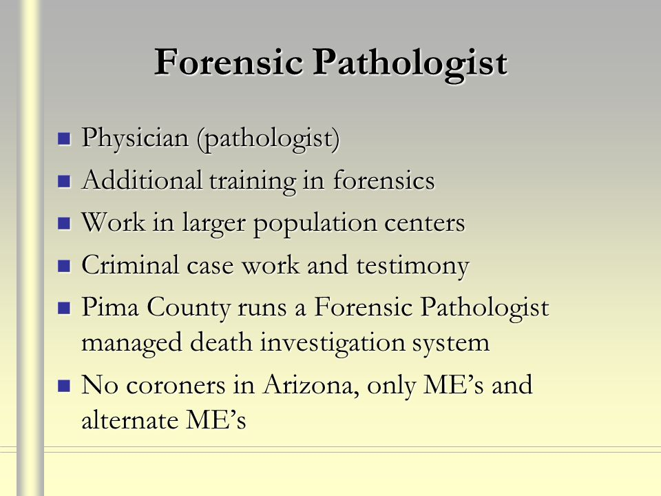 Forensic Pathologist Physician (pathologist)