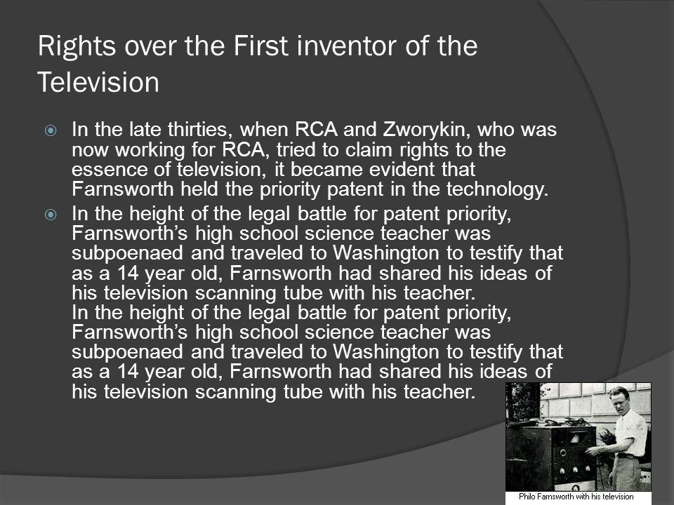 Rights over the First inventor of the Television