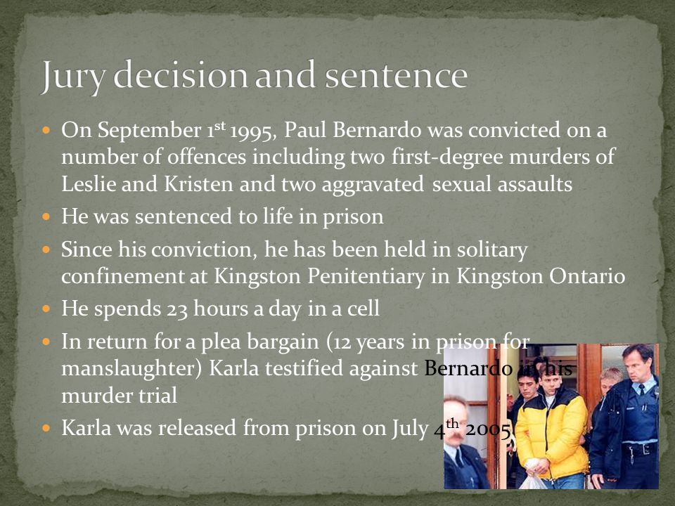 Jury decision and sentence