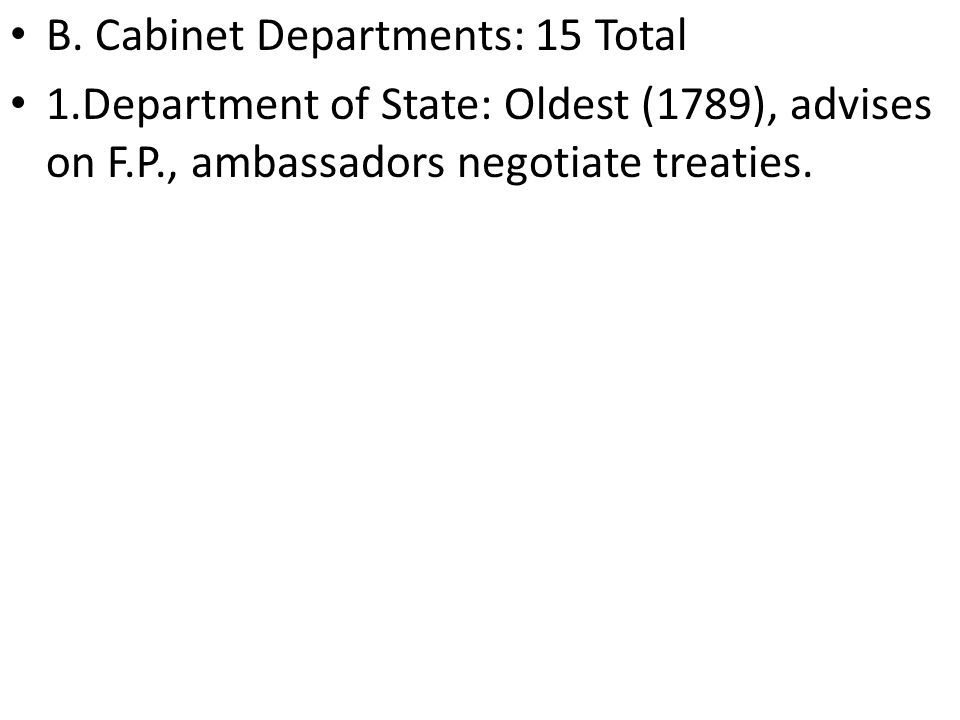 B. Cabinet Departments: 15 Total