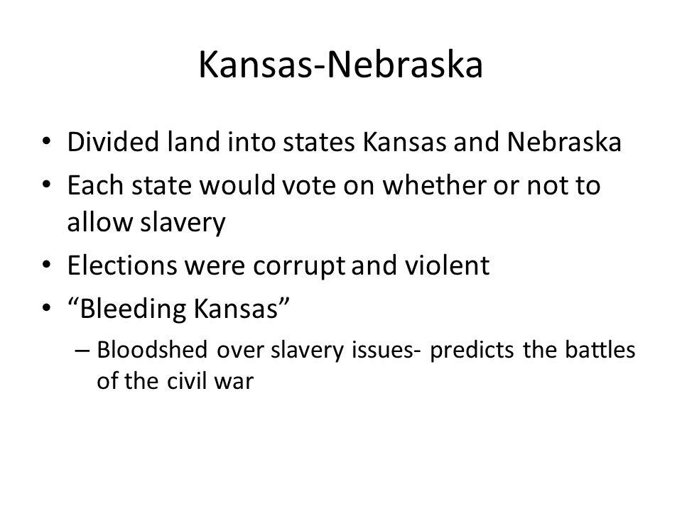 Kansas-Nebraska Divided land into states Kansas and Nebraska