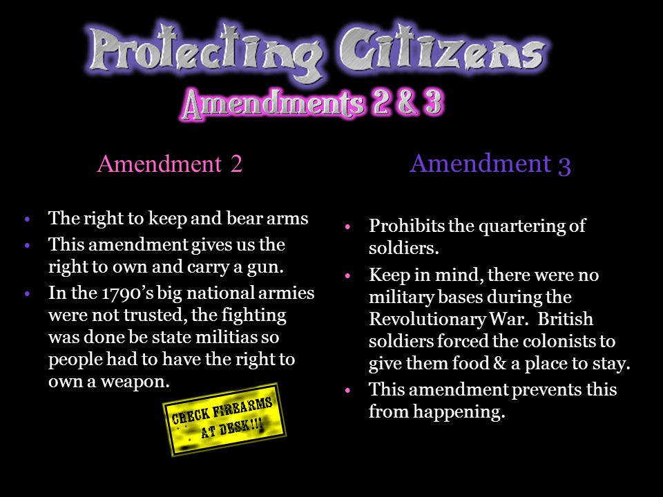 Amendment 2 Amendment 3 The right to keep and bear arms