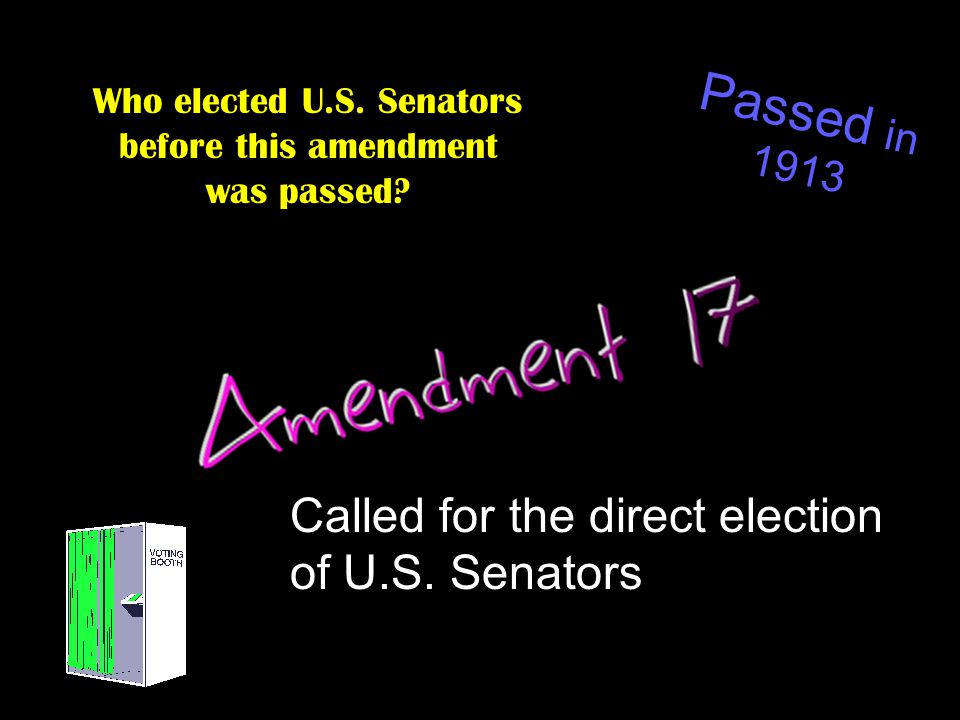 Who elected U.S. Senators before this amendment was passed