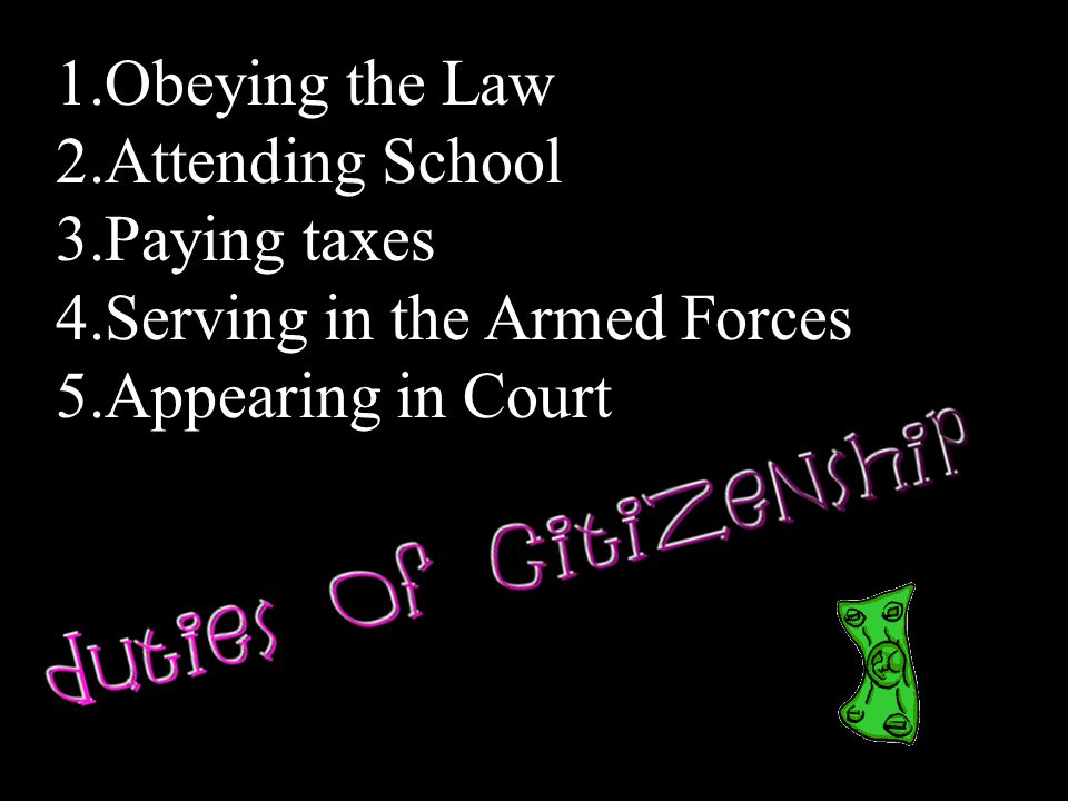 Obeying the Law Attending School Paying taxes Serving in the Armed Forces Appearing in Court
