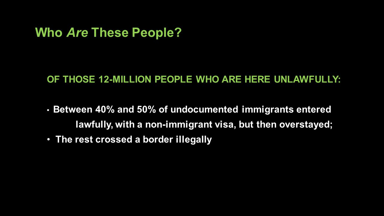 Who Are These People OF THOSE 12-MILLION PEOPLE WHO ARE HERE UNLAWFULLY: