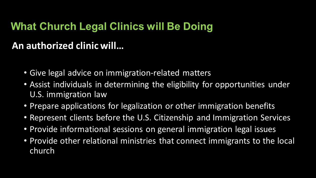 What Church Legal Clinics will Be Doing
