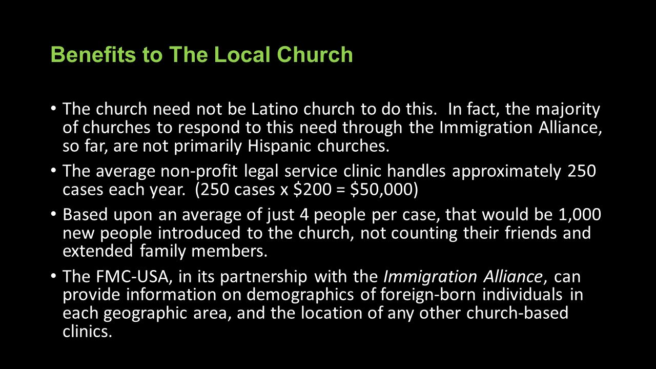Benefits to The Local Church