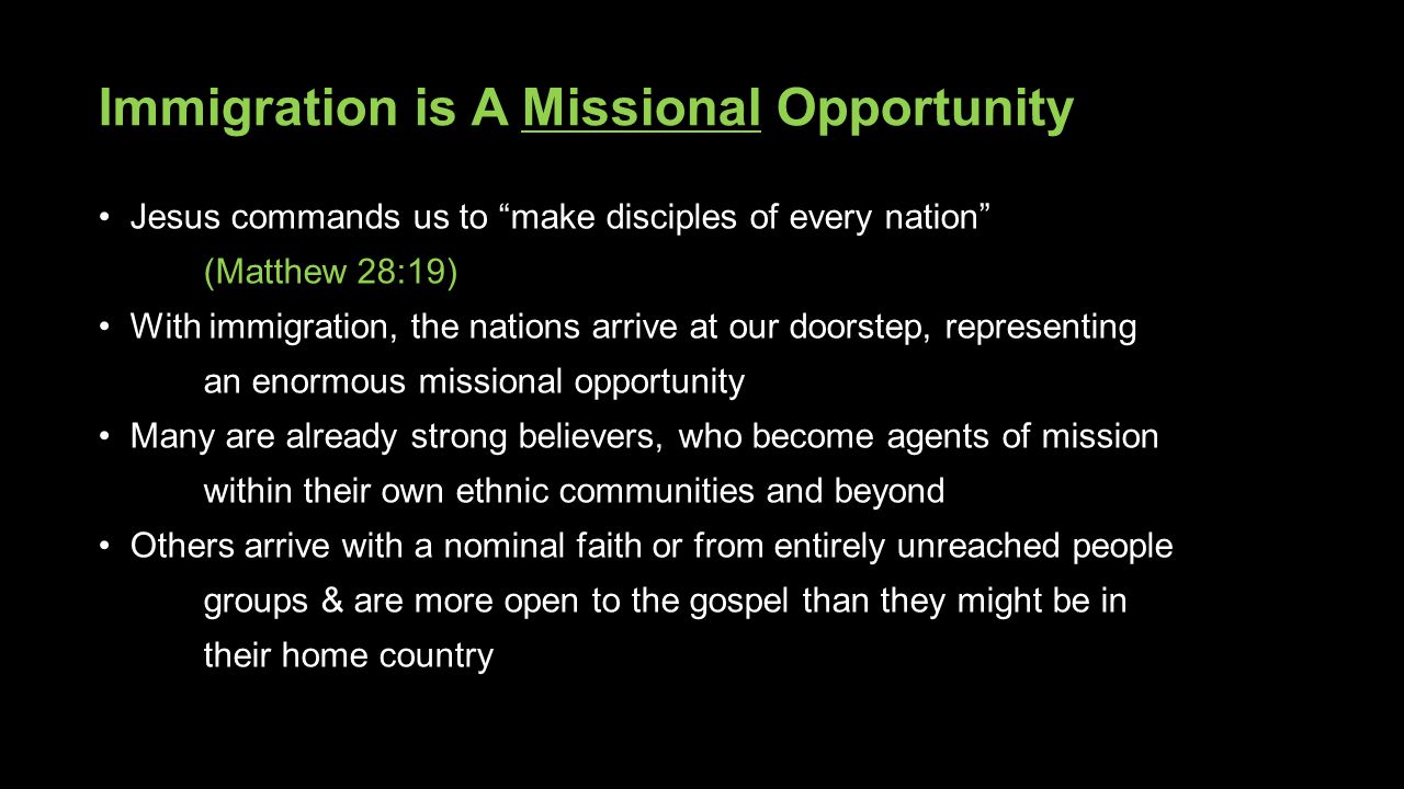 Immigration is A Missional Opportunity