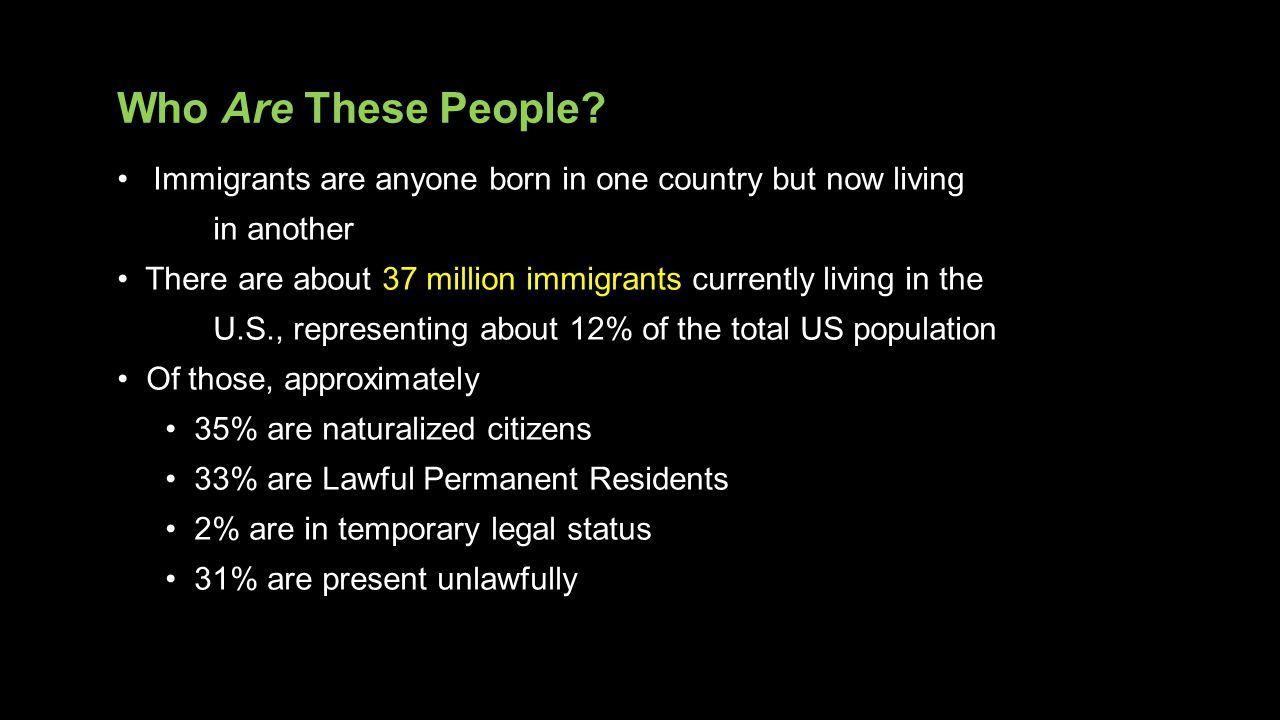 Who Are These People Immigrants are anyone born in one country but now living. in another.