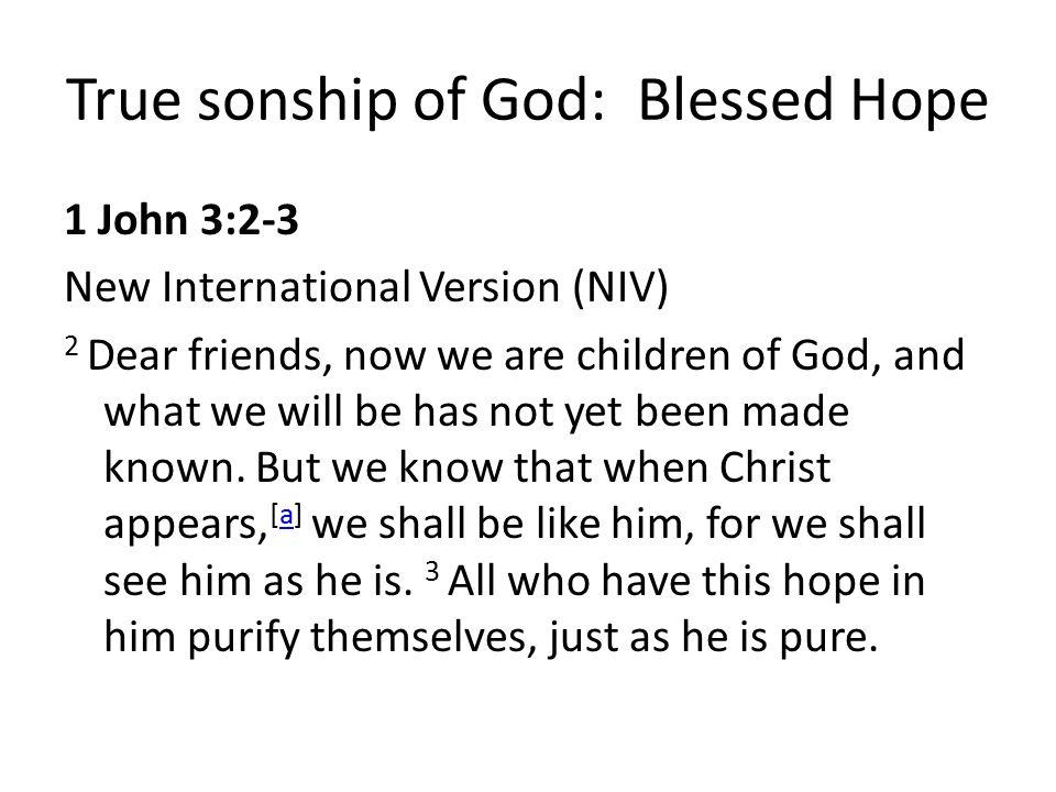 True sonship of God: Blessed Hope