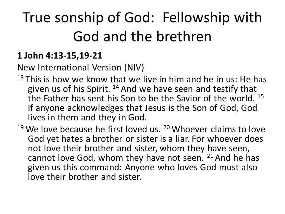 True sonship of God: Fellowship with God and the brethren