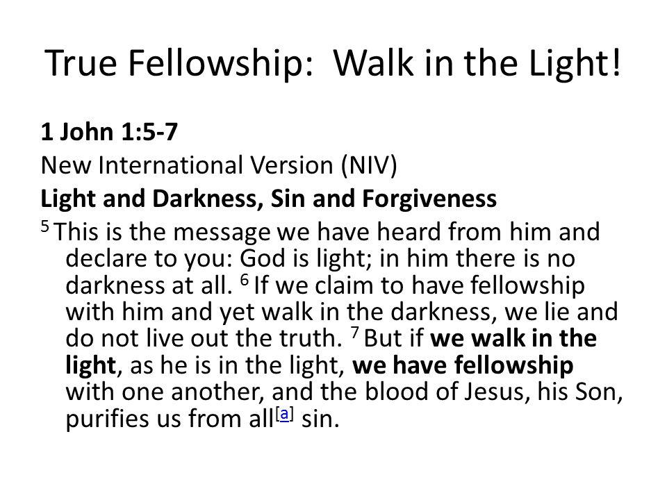 True Fellowship: Walk in the Light!
