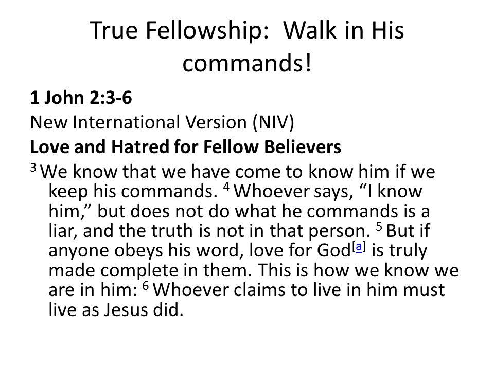 True Fellowship: Walk in His commands!
