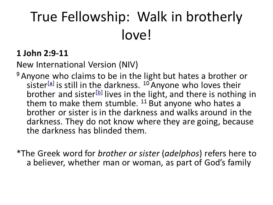True Fellowship: Walk in brotherly love!