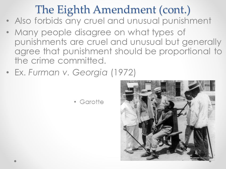 The Eighth Amendment (cont.)