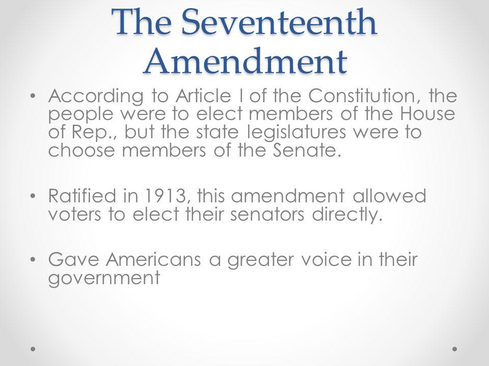 The Seventeenth Amendment