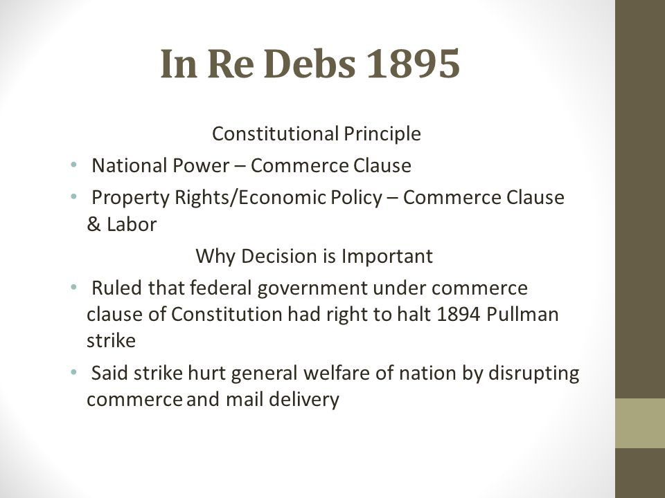 In Re Debs 1895 Constitutional Principle
