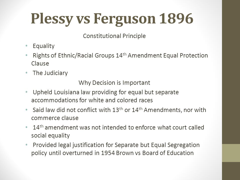 Plessy vs Ferguson 1896 Constitutional Principle Equality