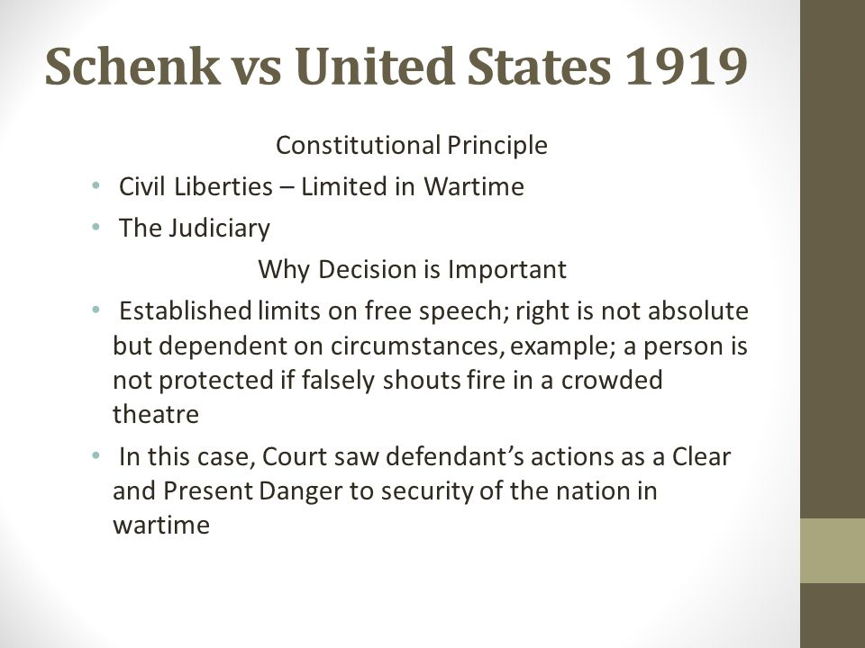 Schenk vs United States 1919