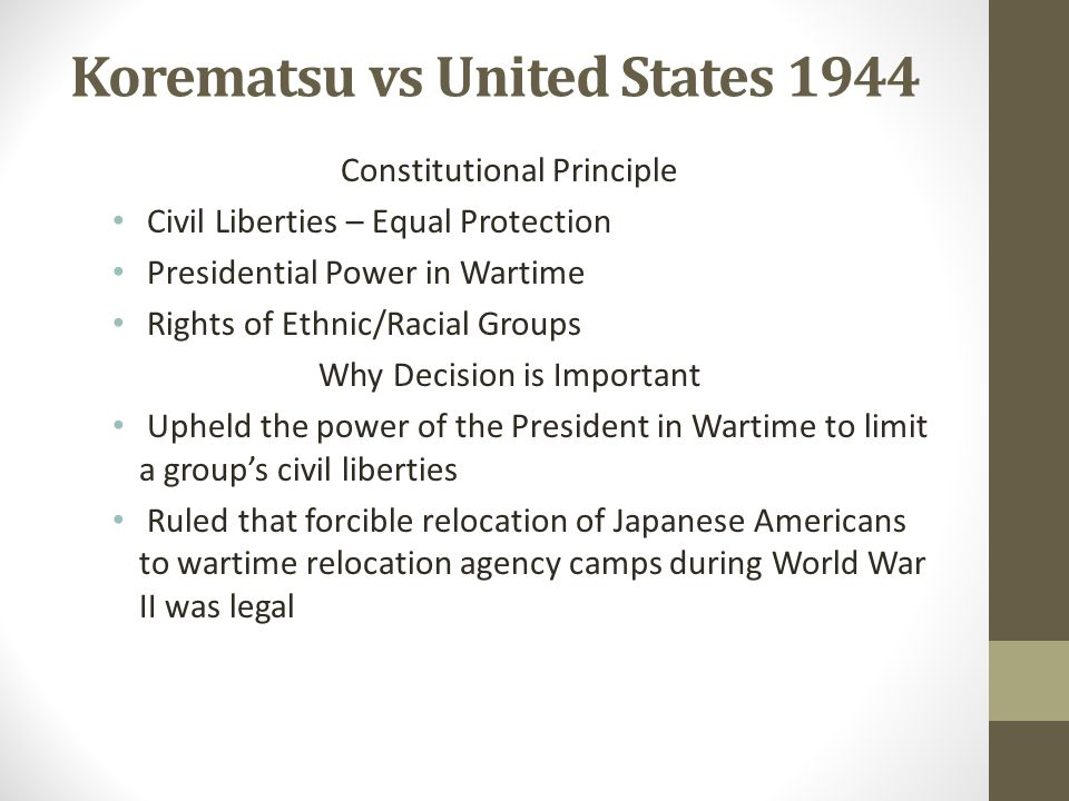 Korematsu vs United States 1944