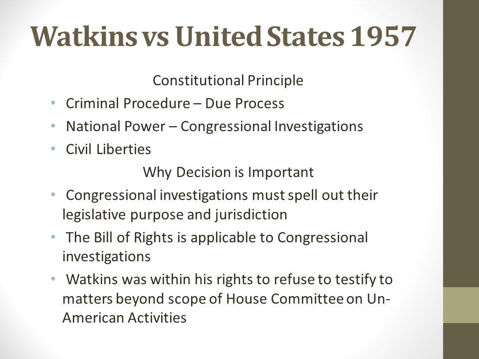 Watkins vs United States 1957
