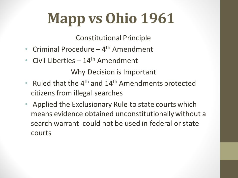 Mapp vs Ohio 1961 Constitutional Principle