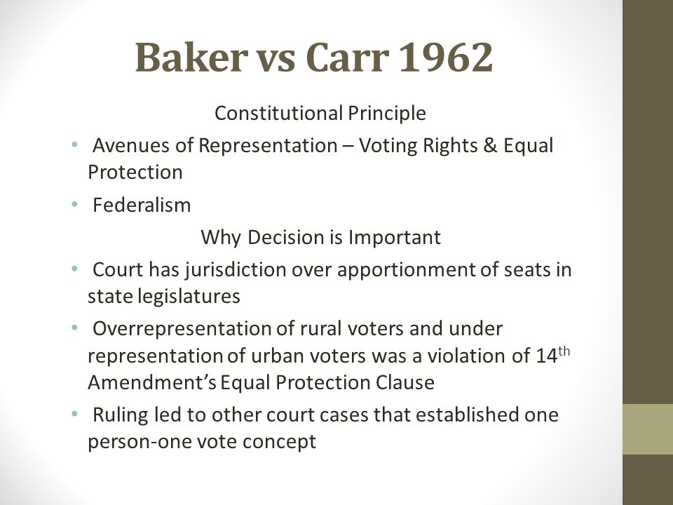Baker vs Carr 1962 Constitutional Principle