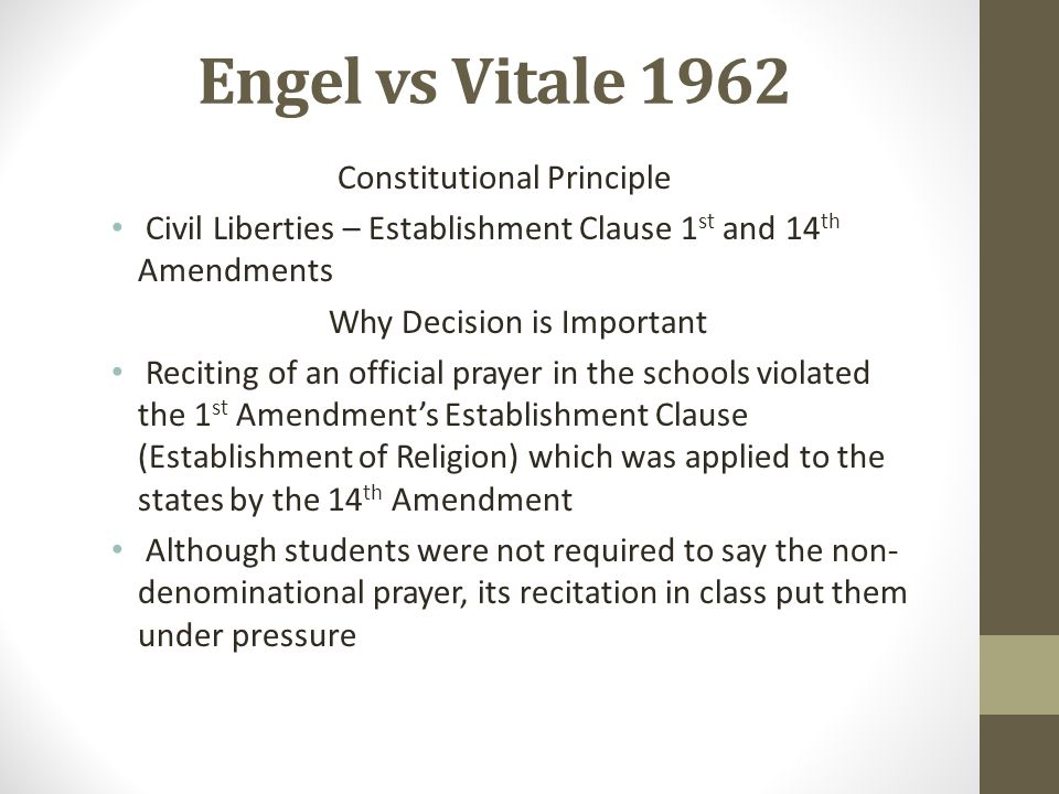 Engel vs Vitale 1962 Constitutional Principle