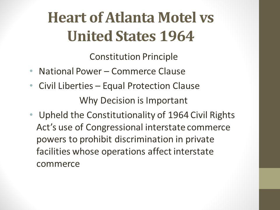 Heart of Atlanta Motel vs United States 1964