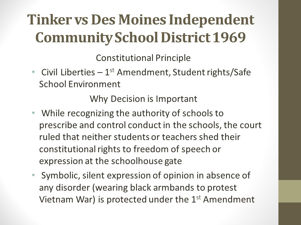 Tinker vs Des Moines Independent Community School District 1969