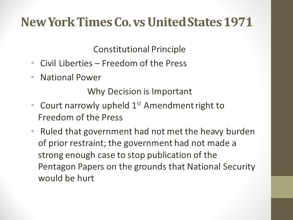 New York Times Co. vs United States 1971