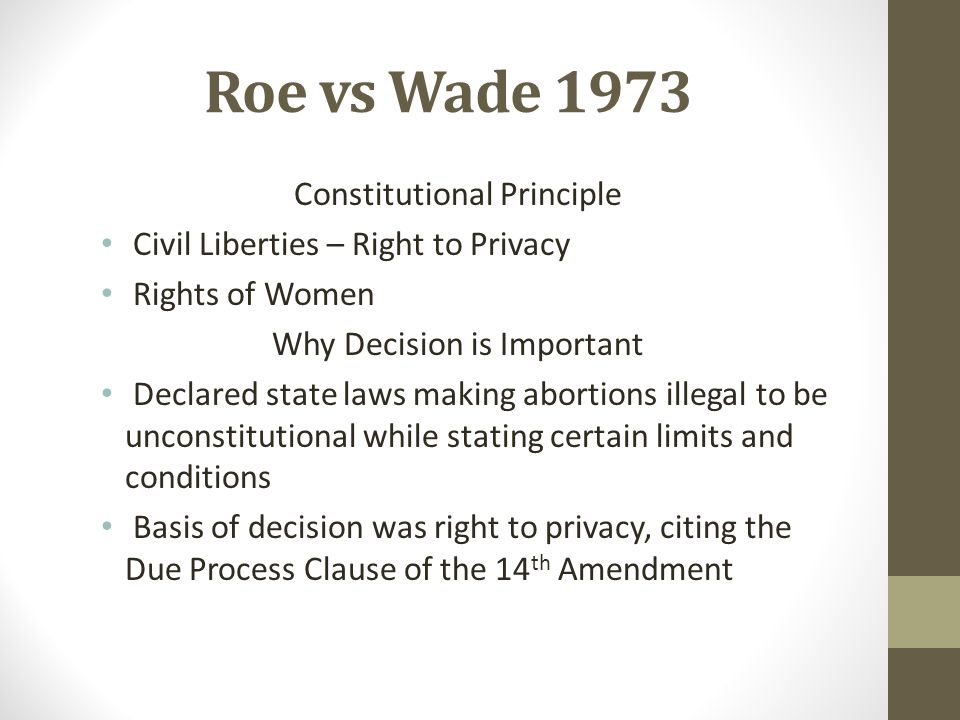 Roe vs Wade 1973 Constitutional Principle