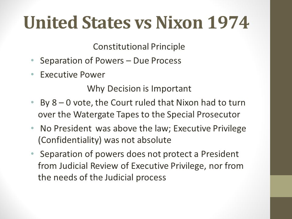 United States vs Nixon 1974 Constitutional Principle