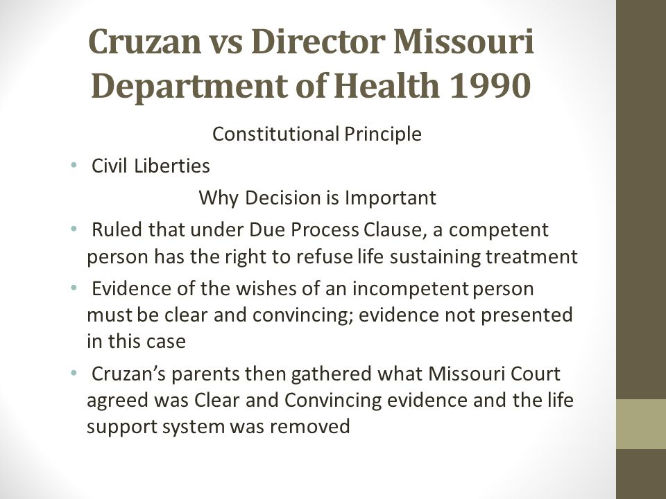 "cruzan v missouri essay Twenty-five landmark cases in supreme court history marbury v essay cruzan missouri v active voluntary euthanasia on office movie space essay is legal in belgium, luxembourg and the netherlands research literature: madison, 1803 ""a law repugnant to the constitution is void."
