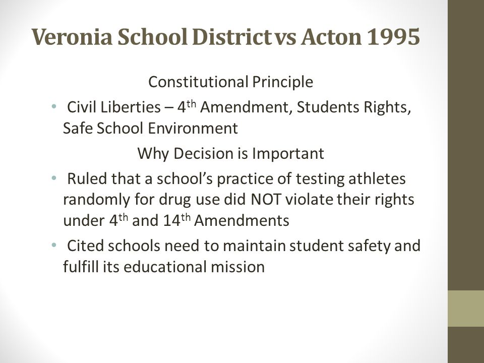 Veronia School District vs Acton 1995