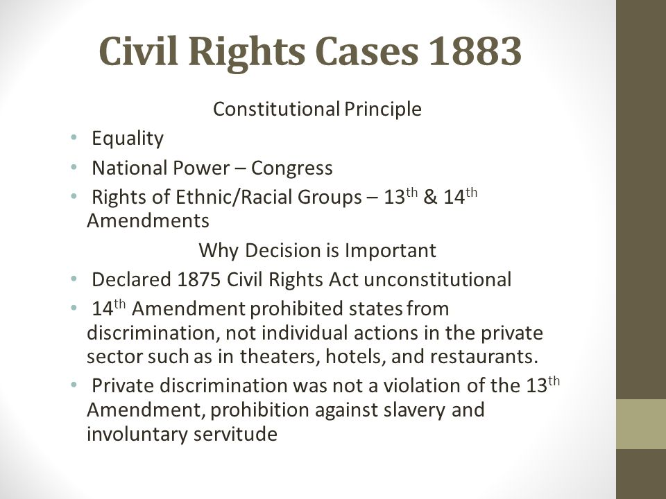 Civil Rights Cases 1883 Equality National Power – Congress