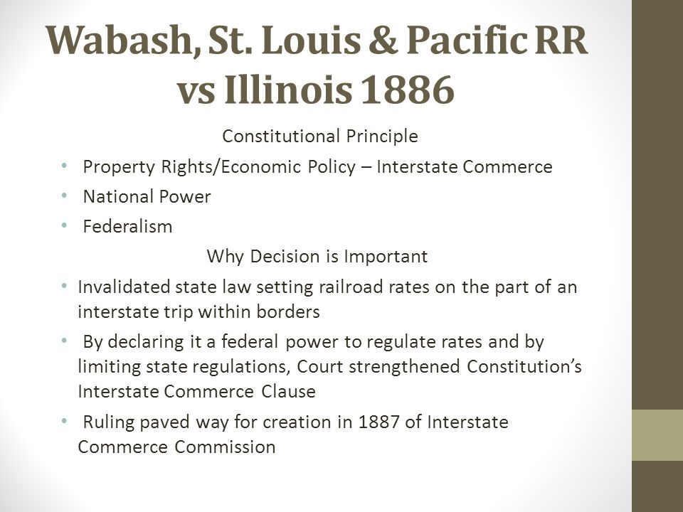 Wabash, St. Louis & Pacific RR vs Illinois 1886