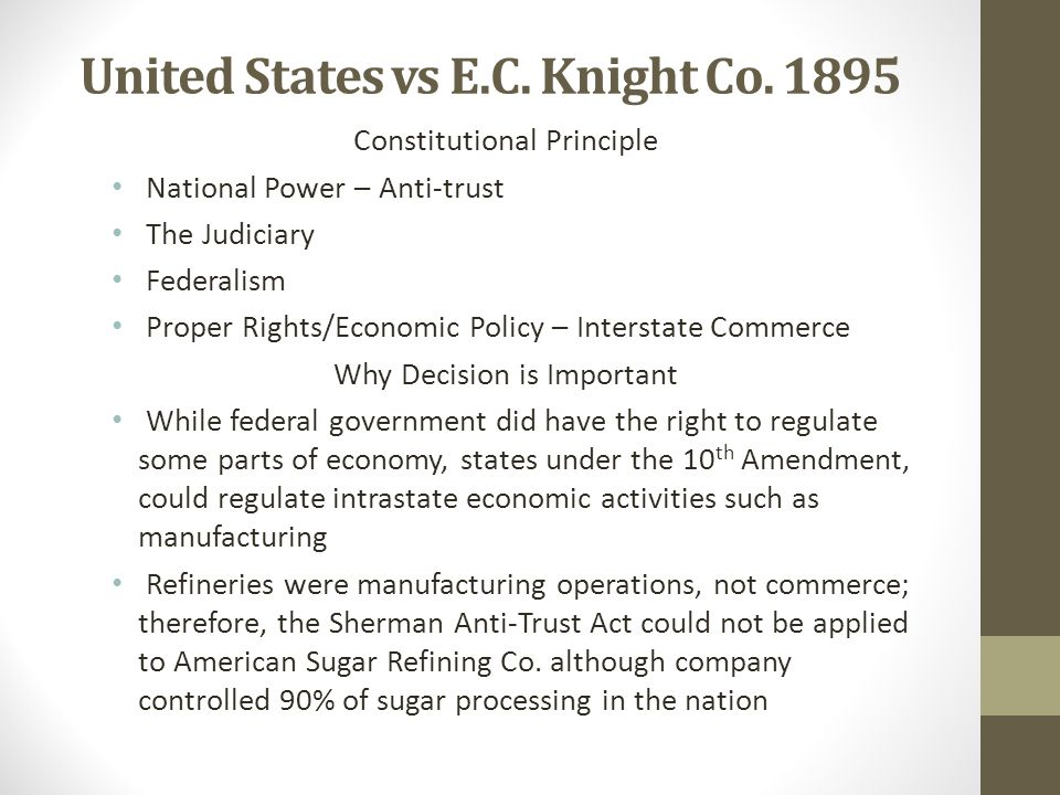 United States vs E.C. Knight Co. 1895