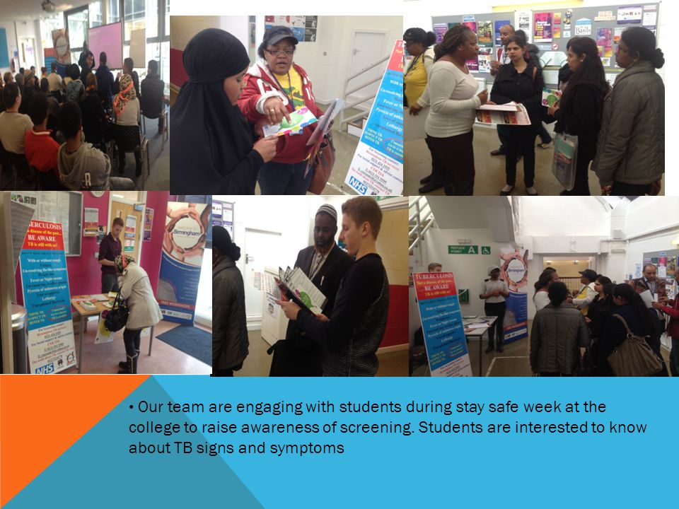 Our team are engaging with students during stay safe week at the college to raise awareness of screening.