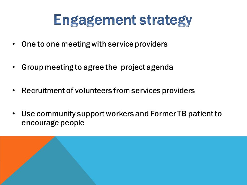 Engagement strategy One to one meeting with service providers