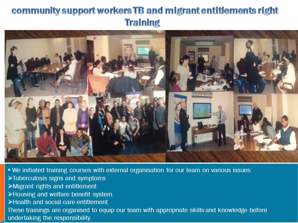 community support workers TB and migrant entitlements right Training