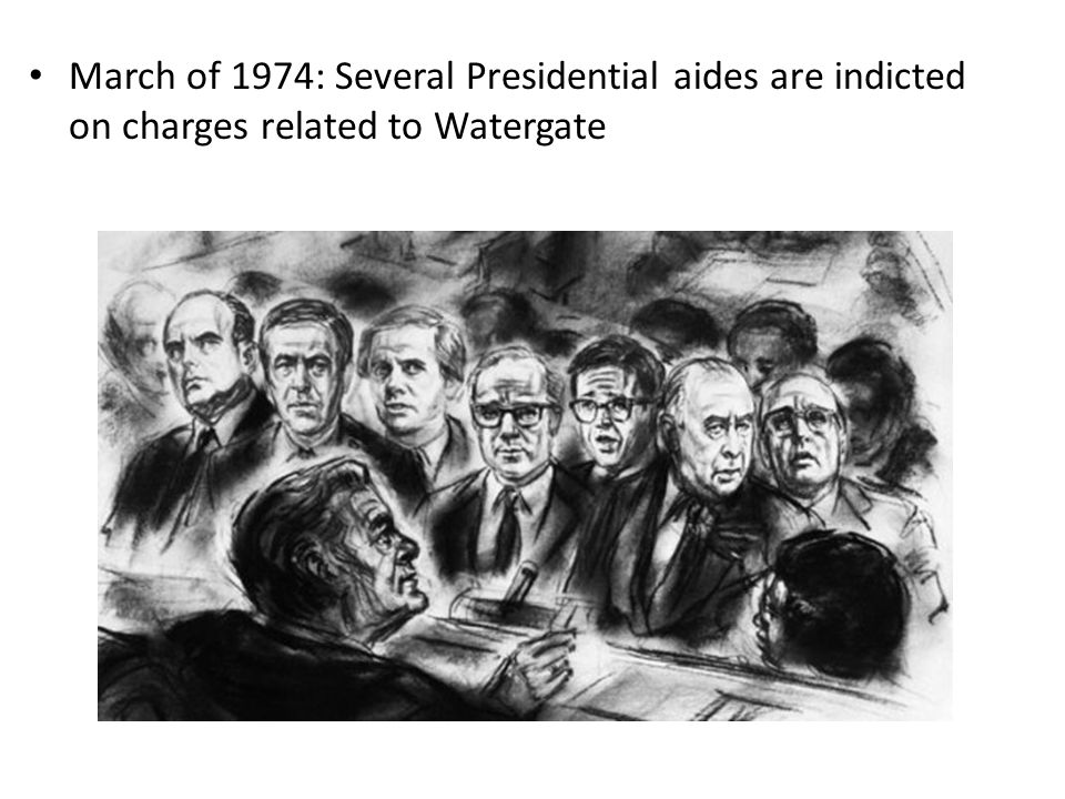 March of 1974: Several Presidential aides are indicted on charges related to Watergate